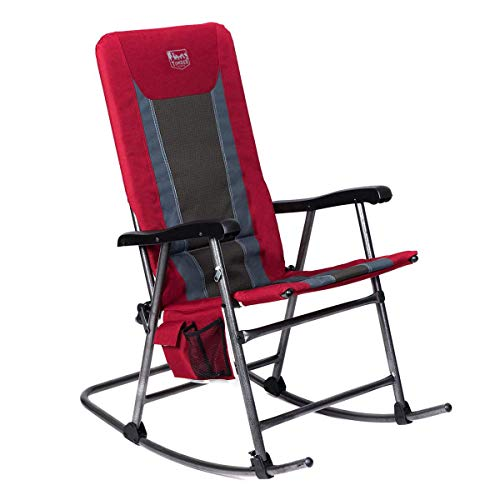Timber Ridge Smooth Glide Lightweight Padded Folding Rocking Chair for Outdoor