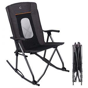 Folding Rocking Chair Portable Oversized High Mesh Back Patio Lounge Camp Rocker