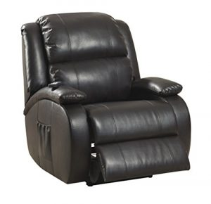 AC Pacific Modern Leather Upholstered Shiatsu Massage Stress Relief Power Reclining Therapy Chair