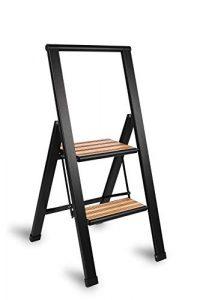 Sorfey Aluminum/Bamboo Folding 3 Step Ladder