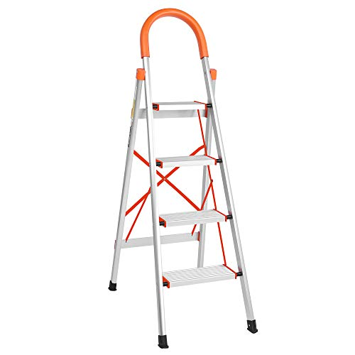 LUISLADDERS 4 Step Stool Folding Aluminum Step Ladder