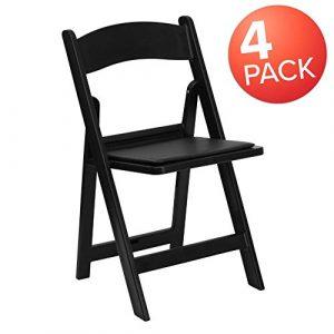 Flash Furniture 4 Pk. HERCULES Series 1000 lb. Capacity Black Resin Folding Chair