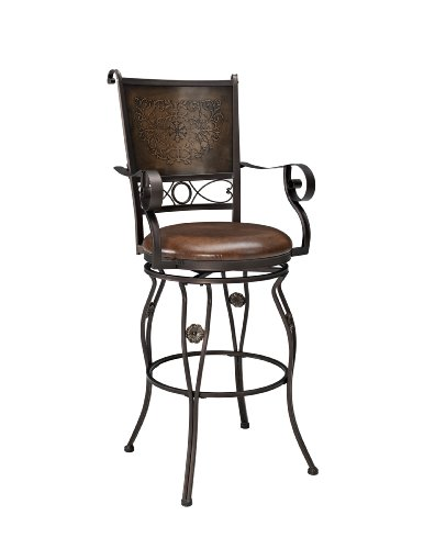 Powell Company Big and Tall Copper Stamped Back Barstool
