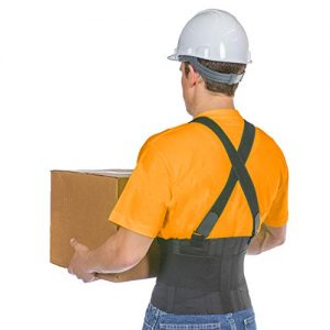 BraceAbility Industrial Work Back Brace with Removable Suspender Straps for Heavy Lifting