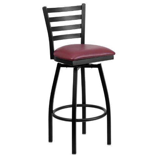 Flash Furniture HERCULES Series Black Ladder Back Swivel Metal Barstool