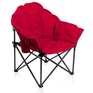 ALPHA CAMP Oversized Camping Chairs Padded Moon Round Chair Saucer Recliner