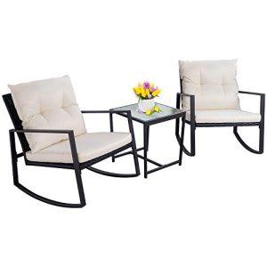 Walsunny 3 Pieces Patio Set Outdoor Wicker Patio Furniture Sets