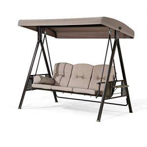PURPLE LEAF 3-Seat Outdoor Patio Porch Swing