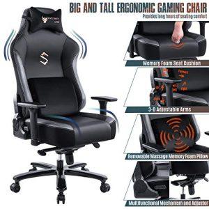 FANTASYLAB Big and Tall 400lb Massage Memory Foam Gaming Chair