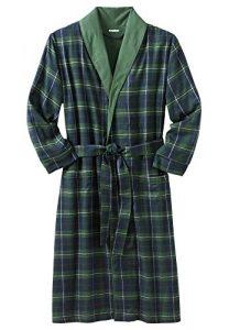 KingSize Men's Big & Tall Jersey-Lined Flannel Robe