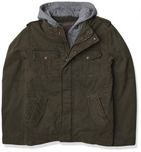 Levi's Men's Washed Cotton Military Jacket with Removable Hood