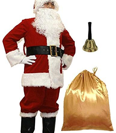 WHOBUY Men's Deluxe Santa Suit 11pc. Christmas Adult Santa Claus