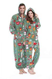 XMASCOMING Women's & Men's Hooded Fleece Onesies One-Piece Pajamas