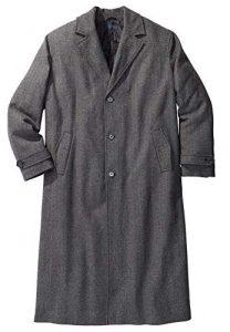 KingSize Men's Big & Tall Wool-Blend Long Overcoat