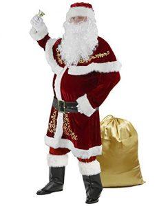 Halfjuly Men's Santa Costume Set Christmas 12pcs Deluxe Velvet Adult Santa Claus Suit
