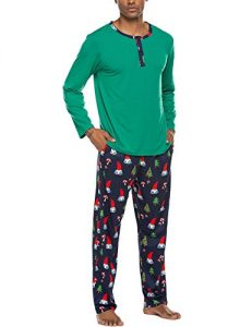 Ekouaer Men's Pajama Holiday Printed 2-Piece Set