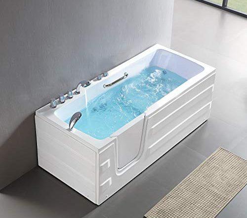 Mecor Walk-in Rectangular Whirlpool Bathtub