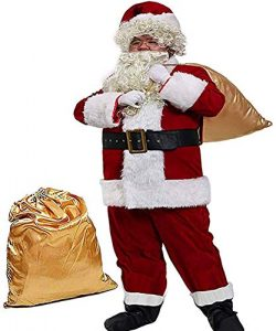 Obosoyo Men's Deluxe Santa Suit 10pc. Christmas Ultra Velvet Adult Santa Claus Costume