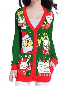 Ugly Christmas Sweater for Women Reindeer Knit Cardigan