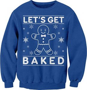 ShirtInvaders Let's Get Baked - Funny Ugly Christmas Sweater Sweatshirt