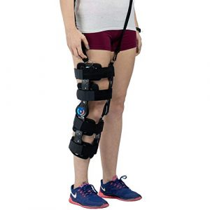 Hinged ROM Knee Brace with Strap, Adjustable Leg Stabilizer Post OP Recovery Immobilization Splint
