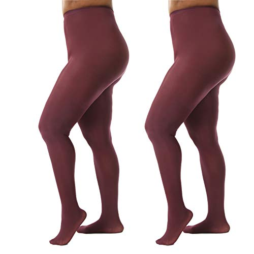 Silky Toes Women's Plus Size Opaque Microfiber Casual Tights