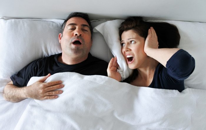 Man snoring on back from sleep apnea - Extra Large Living