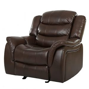 Great Deal Furniture Merit Brown PU Leather Glider Recliner Club Chair