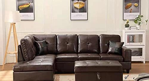 GAOPAN 2021 Faux Leather Sectional Sofa